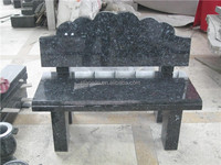 European style blue pearl granite cemetery bench