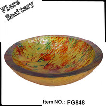 2015 artistic and hand painted bathroom tempere glass sink wash basin