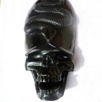 Factory obsidian Carved Singing Skull with Snake Pendant Crystal