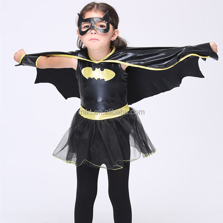Fctory direct sale halloween style bat girl cosplay costume for children