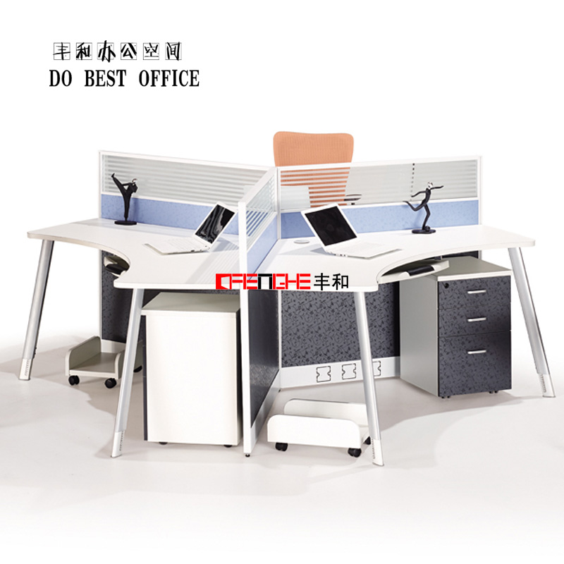 simple design office cubicle workstation for 3 person