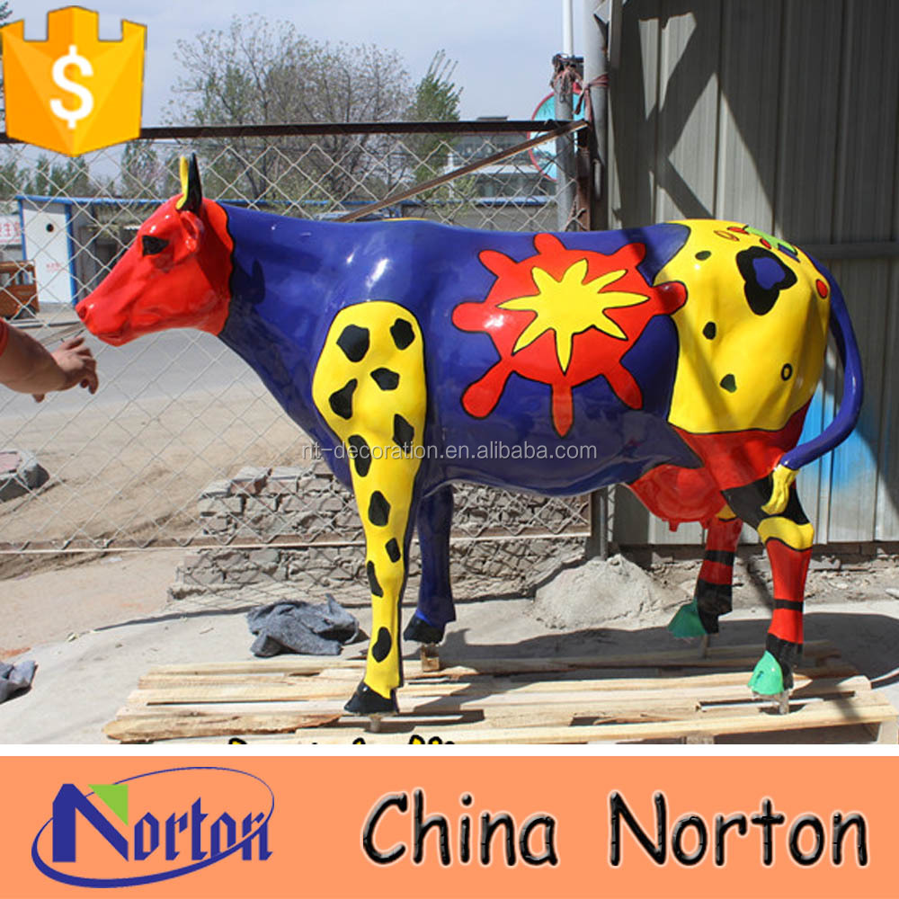 life size cow statue resin garden cow for outdoor decoration NTRS567S