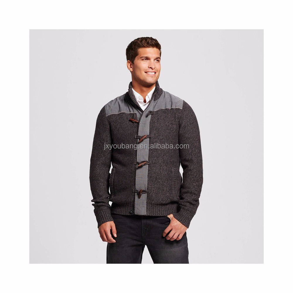 Men's Mock Neck Toggle Cardigan Sweater with full length zipper
