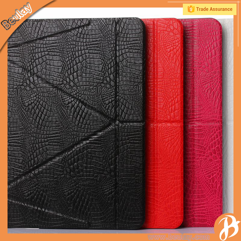 Crocodile 11 fold leather shockproof tablet case for ipad pro 9.7