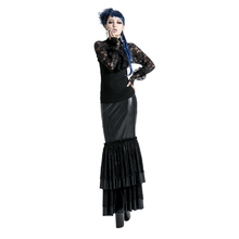 Q-194 gothic fashion ladies leather long fishtail skirt