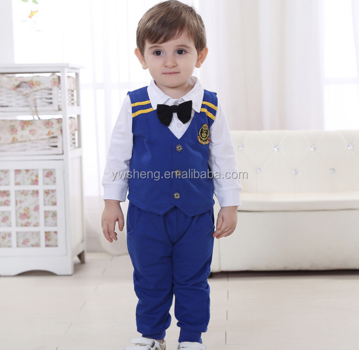 England style 3pcs suit of baby boy' clothes set,baby boy navy uniform