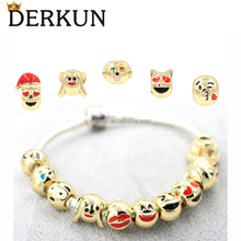 New Fashion Expressions Emoji Jewelry Imitation Gold Plated Emoji Bracelet Emoji Charm Beads Bracelet
