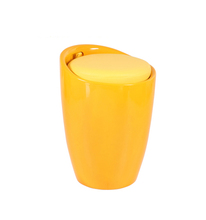 Yellow ABS plastic stool with pu cushion ottoman ABS Storage cushion stool chair