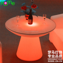 Event Party dining Glowing plastic table illuminated light led table round