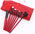 portable 7pcs red color makeup brushes mini travel makeup brush set with red case