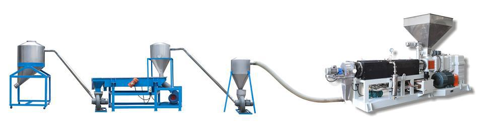 1500kg/h Parallel Counter Rotating Twin Screw PVC Compounder for making pellets