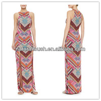 New fashion Printed Maxi Dress with High Slits,sexy girls without any dresses(YLQ03303)