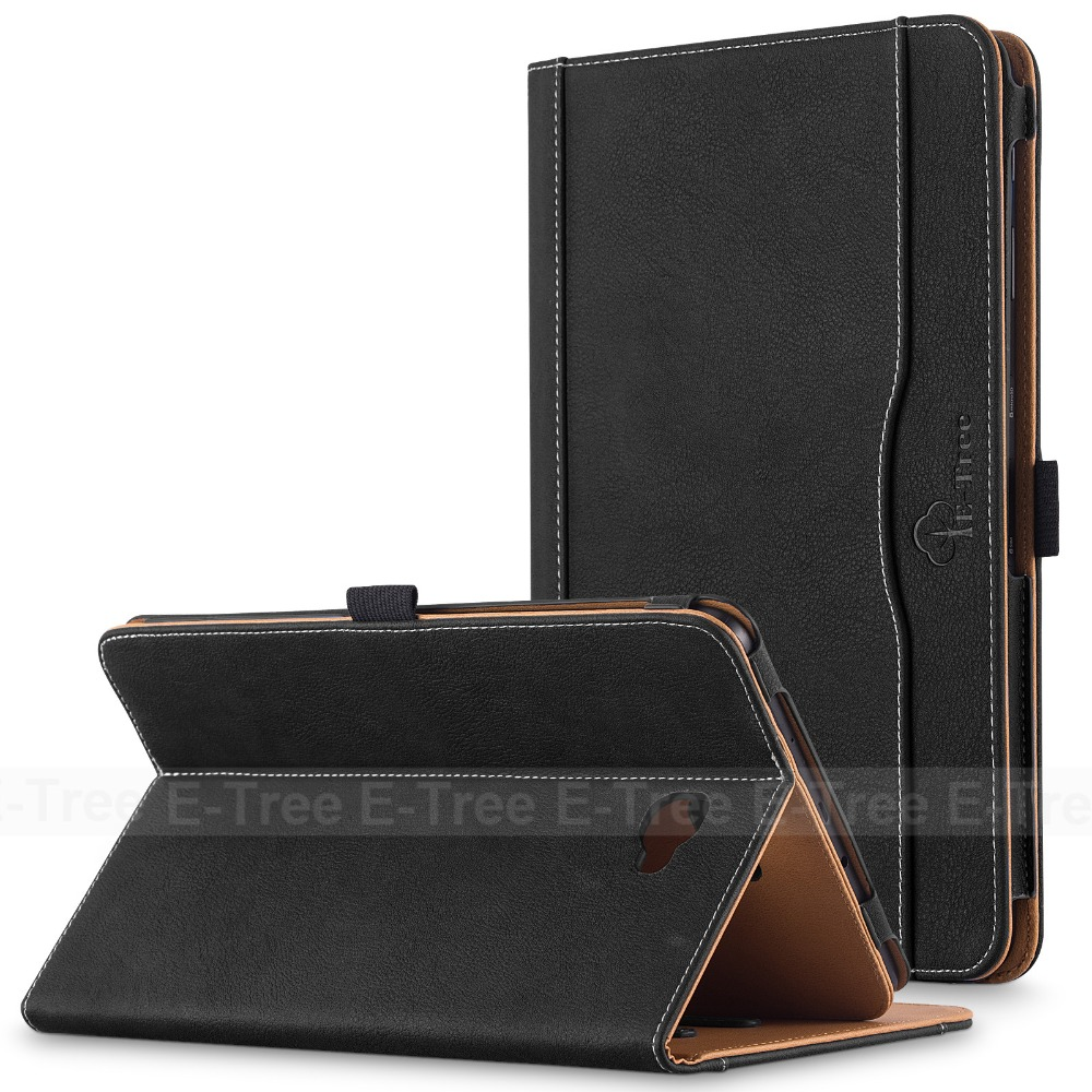 E-Tree brand leather tablet case for samsung galaxy tab t585c 10.1 inch , flip cover for samsung galaxy tab 10.1 leather case