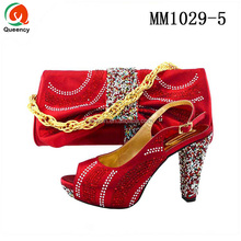 MM1029 Queency New Trendy African Fashion Italian Matching High Heel Shoes and Bags Set 2017 in Napoli