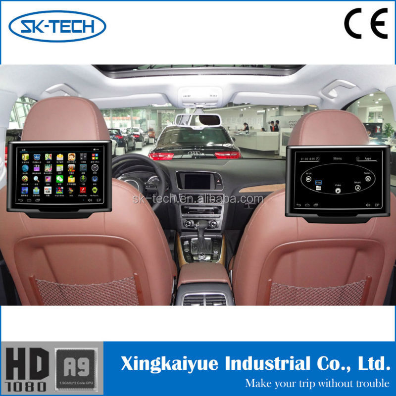 sk-tech 10.1 touch screen head rest android 4.4.4 system rear seat lcd monitor with wifi
