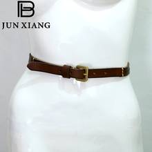 JUN XIANG High Quality Women's Belt Metal Cowskin Genuine Leather Belt Brown Solid Casual Suitable Pants Jeans Girl Gift