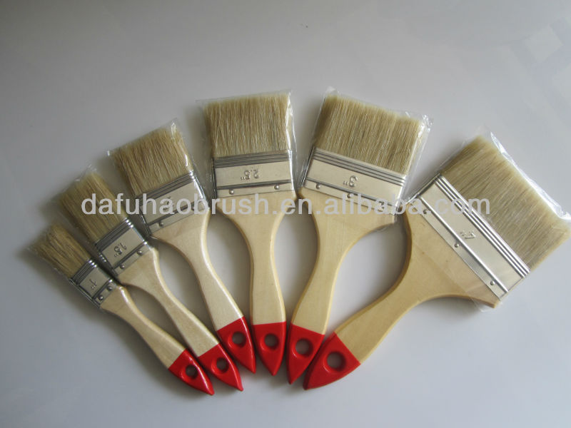 Factory Supply high quality pig bristle furniture cleaning paint brushes, decorative wooden brushes