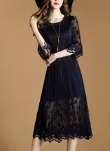 Pleat Regular Women Layered Dress With Transparent Sleeves Fold Lace Dress