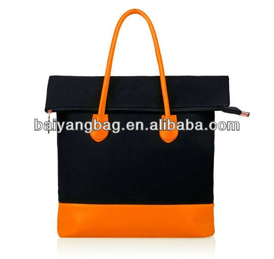 Fashion design PU canvas lady hand bag