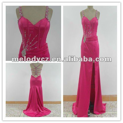 Fushia spandex satin direct factory price dress with beads and rhineston