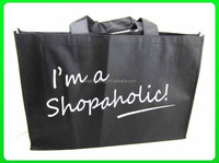 Promotion shopping trally bag black bag with white printing bags handbag