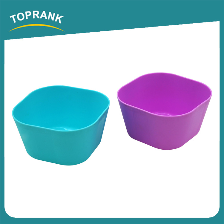 Toprank Customize Colorful Plastic Rice Soup Vegetable Fruit Salad Bowl Square Small Disposable Plastic Bowl