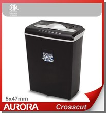 Aurora AS602C Plastic Paper Shredder, 6 sheet (A4) Crosscut 5x47mm, Medium Duty Shredding machine for Office & SOHO