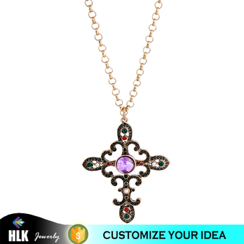 Fashion Rhinestone Pendant Colorful Crystal Cross Necklaces Wholesale