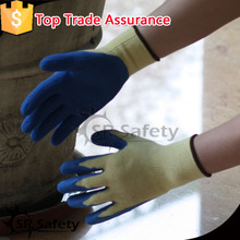 SRSAFETY 10 gauge Yellow line blue rubber /latex garden working gloves/made in China