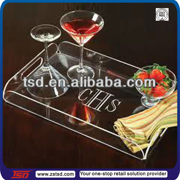 "TSD-A575 14""x10"" Modern Urban Clear Large Rectangle Drinks Cocktail wholesale lucite tray/plexiglass tray/acrylic serving tray"