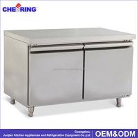 Two Door Stainless Steel Solid Door Commercial Undercounter Refrigerator