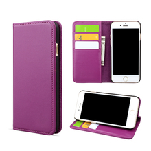 Flip wallet real leather card holder phone cover case for iPhone 8