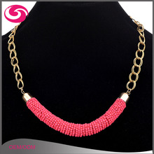 Factory Cheap Wholesale Fashion Latest Design Alloy Chain Seed Bead Necklace