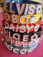 Most Economical Personalized Stylish PU Leather Dog Collar with Letters Rhinestone Slider Alphabets and Charms