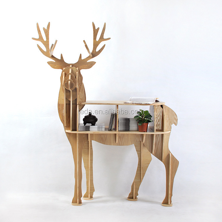 wooden art craft deer shape table funrniture home decorNew-design-European-100-birch-wood-elk-edge-table-deer-shape-furniture-animal-rack-ornaments-home