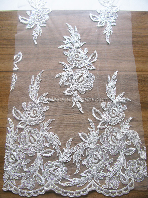 Newest garments embroidery Ivory bridal french voile Swiss lace fabric for wedding dress/Bead Embroidered Tulle Mesh Lace
