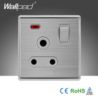 Best Selling Wallpad Silver Satin Metal 110~250V UK Electric Power Supply 1 Gang 3 Pin 15A Switch Socket