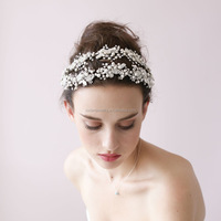 2017 Latest Design Clear Diamonds Bling Head Piece Wedding Hair Accessories Bridal Flowers Hairband