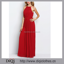 2016 Latest sexy ladies Wine Red Evening Sleeveless Halterneck Pleated Infinity Maxi Dress