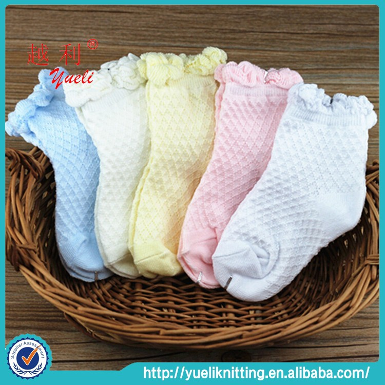 2015 Cheap 100% cotton lace thin children socks