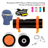 4GB USB Waterproof MP3 Player for Swimming Diving Water FM Radio Earphone