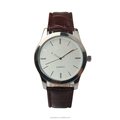 Fashion business mens costom logo leather strap quartz alloy watch