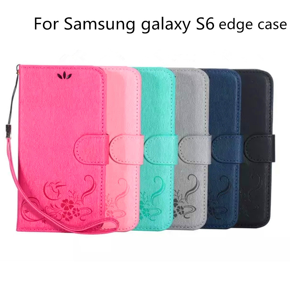 Wholesale luxury wallet leather Case for Samsung Galaxy s6 edge with card slots holders stand function case China alibaba