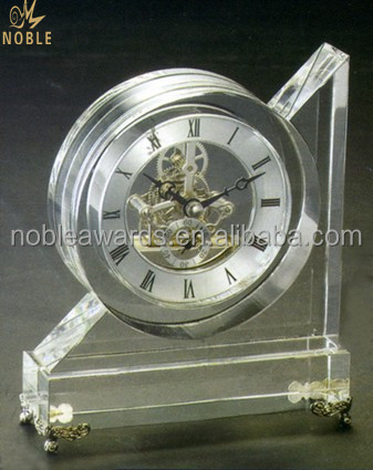 Noble Custom 3D Laser Engraving Crystal Table Clock For Office Decoration