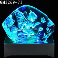 glass ice carving fairy with color chagning LED base
