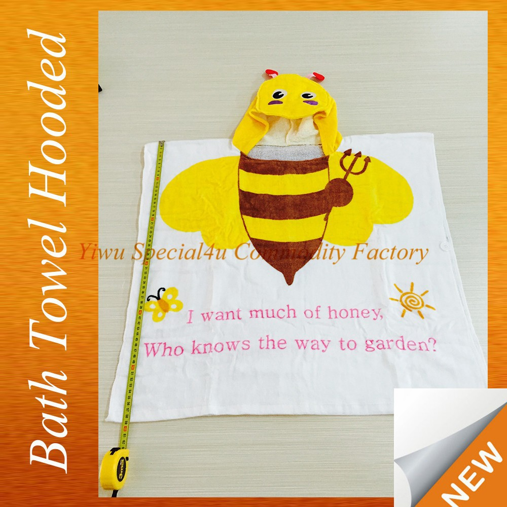 Hot Sale Comfortable White baby yellow bee design for baby white bath towel Lyd-810