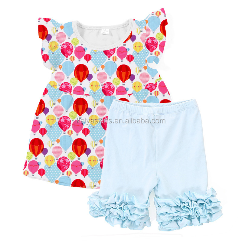 2017 fashion summer hot kids clothing set boutique infants and toddler girls printed colorful balloon outfits
