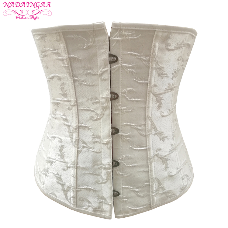 2017 Women's Vintage Brocade Sexy Mesh Corset Hollow Out Waist Training Body Shaper