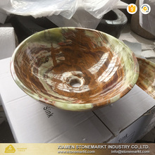 Natural stone green onyx circular round sinks and other stone sinks