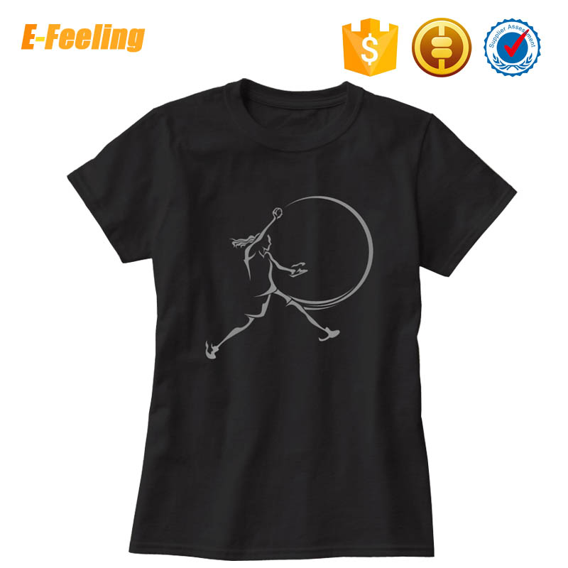 Wholesale Custom Silk Screen Printing Women Slim Fit Crew Neck T Shirt